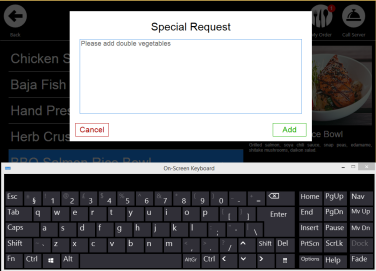 Special Request Screen