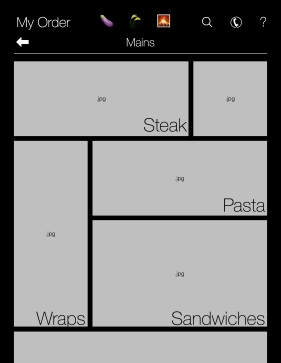 Once flipping past the Start Page, the customer is brought to a tile-like interface to browse the restaurant's menu options. At the top of the screen, a navigation bar allows the user to filter for various food types as they browse, or use the same tools available on the start screen for assistance.