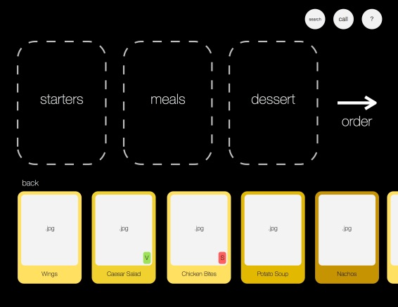 Once selecting a food category, the customer can scroll through various menu options along the bottom of the screen. Indicators in each item's card may mark meals as vegetarian or spicy.