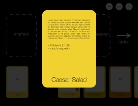 Tapping on a card brings up details about the dish and customization options.