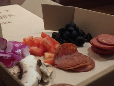 Onions, Tomatoes, Olives, Mushrooms, Pepperoni, Smoked Pepperoni, Italian Sausage